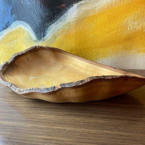 VINTAGE Hand Carved Live Edge Wooden Bowl